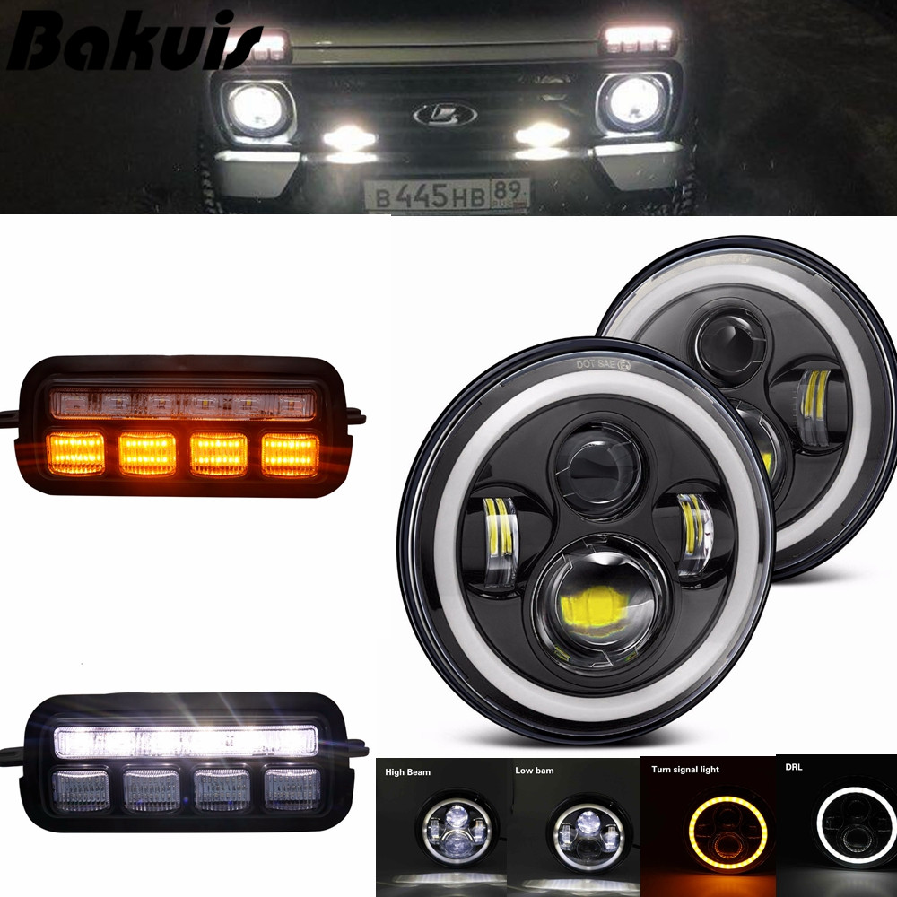 For Lada Niva 4X4 1995 LED tail lights For Lada Niva 4x4 7 Inch LED Headlamps Daytime Running Lights For LADA NIVA Accessories