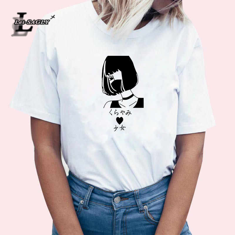 Lei SAGLY/женская футболка с японским принтом для девочек летняя белая свободная футболка с короткими рукавами и рисунком для девочек, топы, Femme, большие размеры, уличная футболка