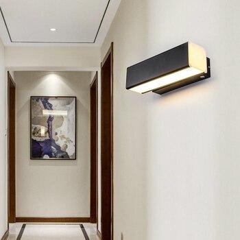 2 Вт/6 Вт светодиодный настенный светильник, акриловая лампа, вращающаяся прикроватная лампа, освещение для прохода, коридора, гостиной, черн...