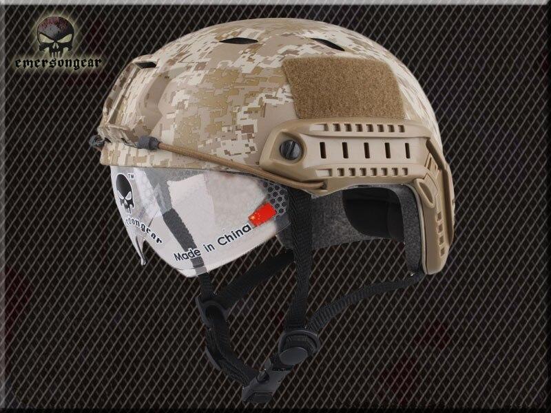 2017 casque de combat BJ tactique extérieur avec monture de lunettes NVG et Rail latéral avec visière transparente pour engrenages militaires