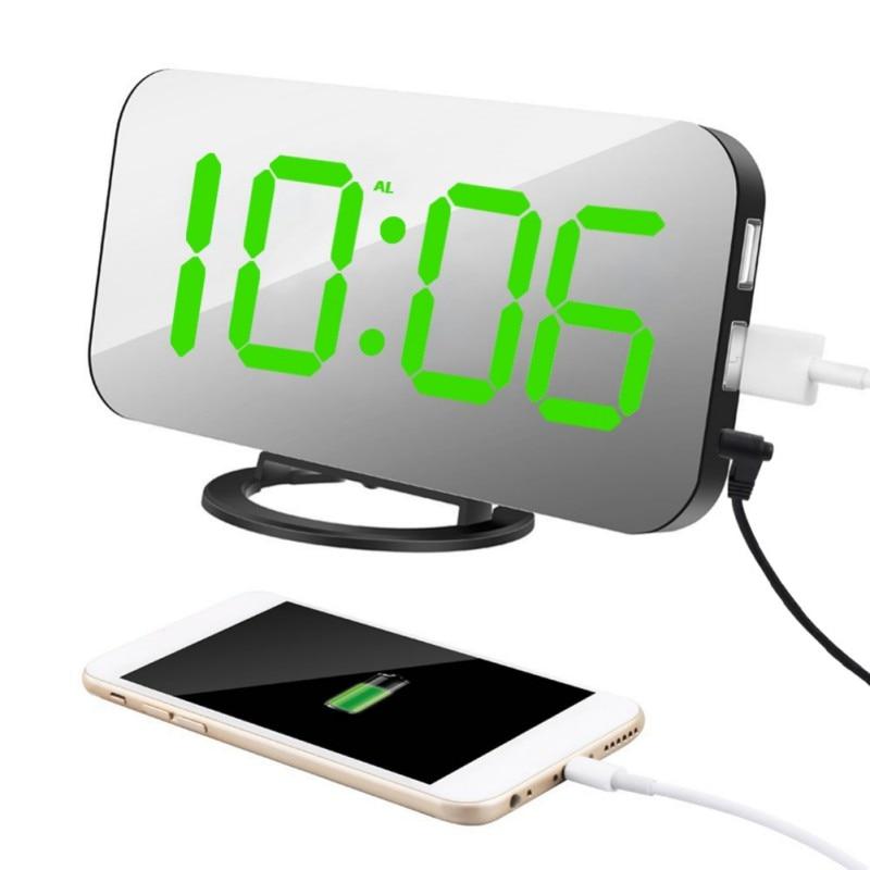 Reloj despertador USB de carga para teléfono Ipad reloj Digital con pantalla LED de lectura fácil de leer