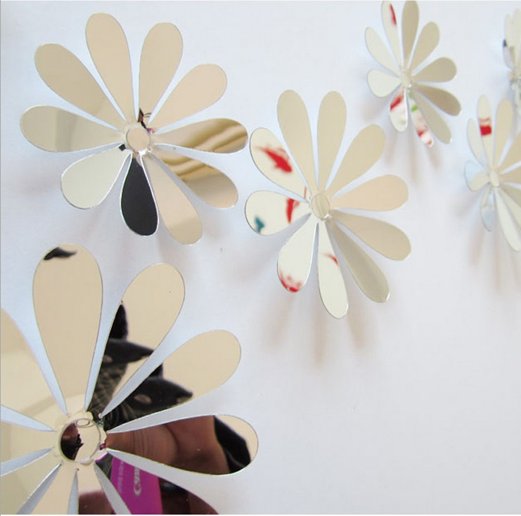 12pcs vinyl 3d removable decorative silver mirror flowers for 3d flowers for wall decoration