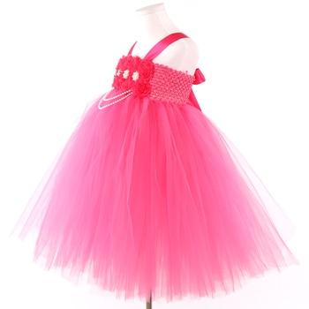 New Baby Girl Clothes Fuchsia Flower Girl Dress Pink Fuchsia Shabby Flower Tutu Dress for Girl Kids Peals Girls Tutu Dresses