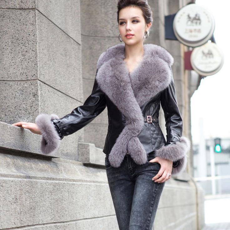 Femmes Réel VÉRITABLE MOUTON VESTE EN CUIR avec col fourrure de renard lady mode en peau de mouton manteau court Femail Hiver Style/Livraison gratuite