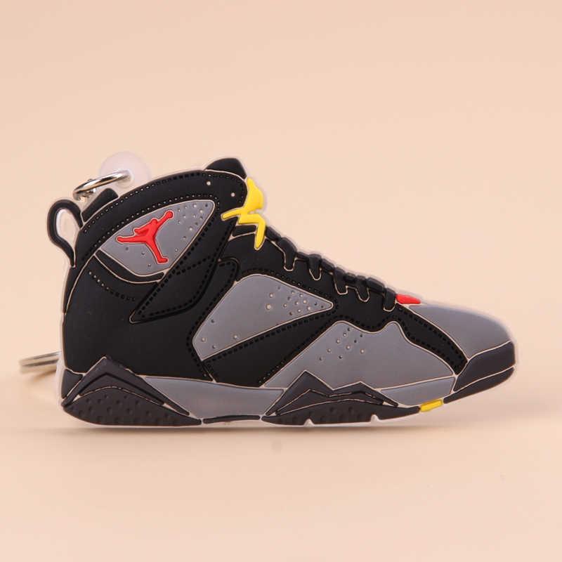 ใหม่ MINI Jordan 7 พวงกุญแจรองเท้าผู้ชาย Wome เด็กแหวนคีย์แหวนของขวัญบาสเกตบอลรองเท้าผ้าใบผู้ถือกุญแจ Porte Clef