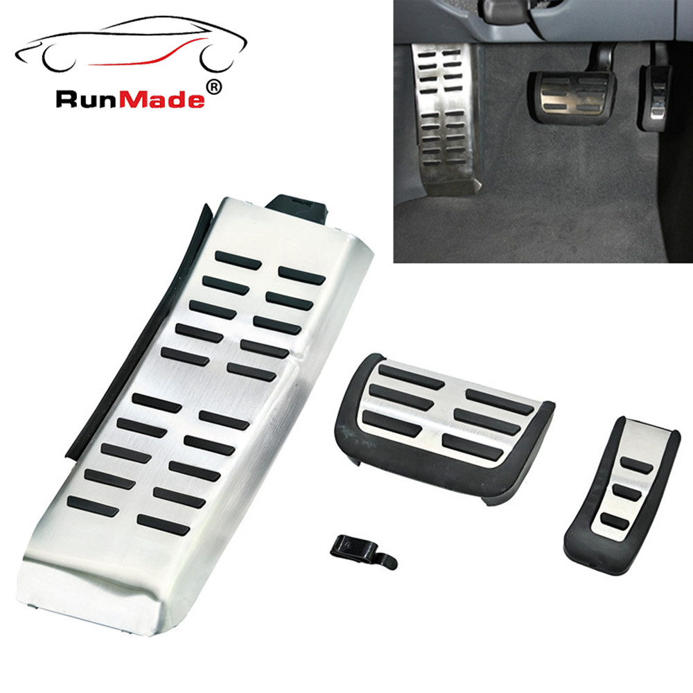 For 05-10 Audi A6 C6 S6 RS6 Sport Auto Transmisson Fuel + Brake + Foot Rest Pedals Kit Aluminium Surface brand new 4pcs aluminium non slip foot rest fuel gas brake pedal cover for audi q5 mt 2010 2016