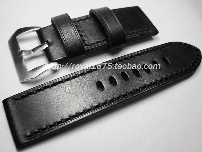 26mm 2019 new black high quality Handmade vintage watchbands watch accessories Genuine Leather watch band Universal