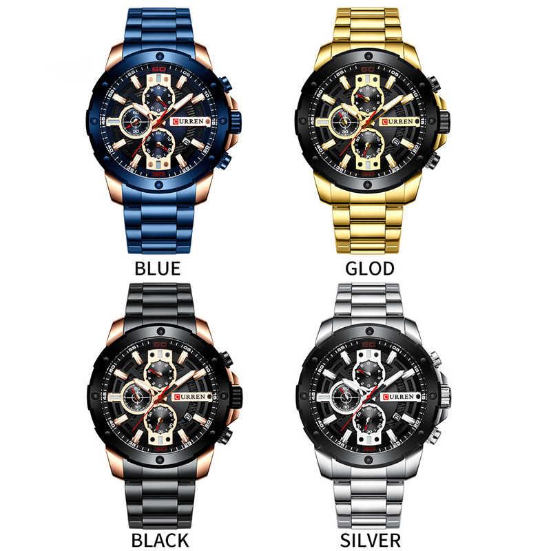 Terbaru CURREN Pria Watch 2020 Militer Tahan Air Olahraga Pria Jam Tangan Atas Merek Stainless Steel Chronograph Jam Jam Tangan Pria