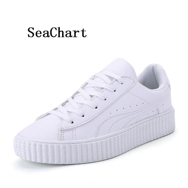 Prix pour SeaChart Unisexe Hommes de Chaussures de Skate En Cuir Noir Blanc de Femmes tous les match Respirant En Plein Air Sneaker 36-44 Uomo chaussures
