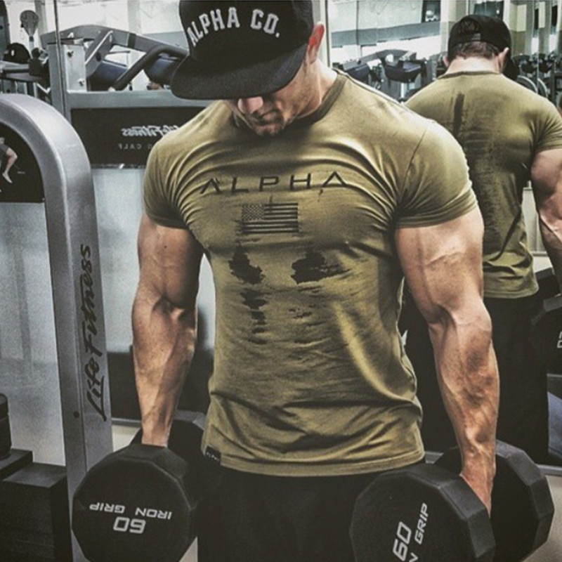 2019 New Brand Clothing Gyms Tight Cotton T-shirt Mens Fitness T-shirt Homme Gyms T Shirt Men Fitness Summer Tees Tops