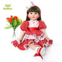 Real Like Princess 60 cm Reborn Baby Dolls Girl Soft Silicone bebe vivid Stuffed Doll Lifelike Newborn Baby 24'' Kids play doll