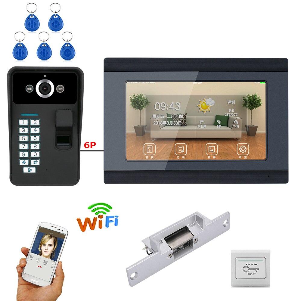 MAOTEWANG  7 Inch Wired / Wireless Wifi Fingerprint Video Door Phone Doorbell Intercom System With Electric Strike Lock
