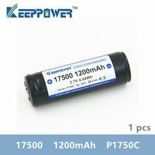 1 stuks Keeppower 17500 1200mAh 3.7V P1750C 4.44Wh Beschermd Oplaadbare Lithium Batterij Li Ion Batterijen voor vape zaklamp