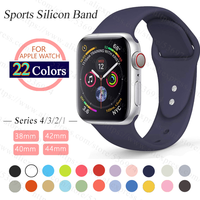 ProBefit soft Silicone Sports Band for Apple Watch 3 2 1 38MM 42MM Bands Rubber Watchband Strap for Iwatch series 4 40mm 44mm