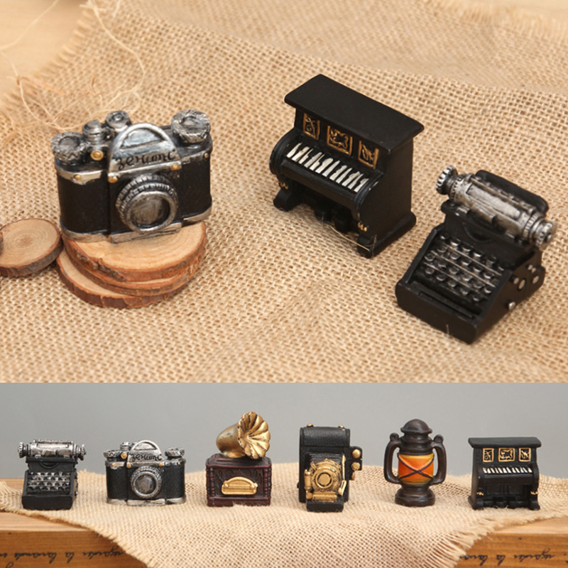 Creative Ornaments Mechanical Model Antique Model Resin Phonograph Typewriter Coffee Home Shop Store Toys Gifts Props