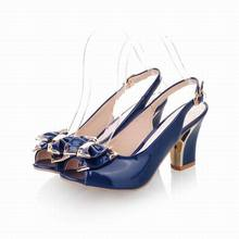 2017 Summer new Japanned leather open toe sexy high heel sandals thick heels open toe plus size women's shoes size 34-43