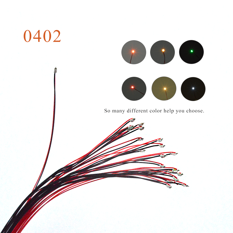 0402 SMD model train HO N OO scale Pre-soldered micro litz wired LED leads with 1.5K resistor 5PCS