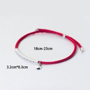 Image 5 - La Monada אדום לידי 925 סטרלינג כסף צמיד אדום חוט מחרוזת חבל צמידים לנשים כסף 925 סטרלינג