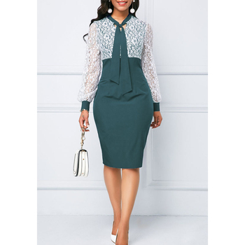 White Lace Summer Autumn Dress Women 2019 Casual Plus Size Slim Office Bodycon Dresses Elegant Sexy Long Sleeve Party Dress 5XL 6