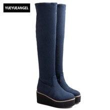 Stretchy Faux Suede Sobre O Joelho Botas de Plataforma das mulheres Slim Fit Elegante Senhora Sapatos Botas Feminina Rodada Toe Deslizamento Em calçado