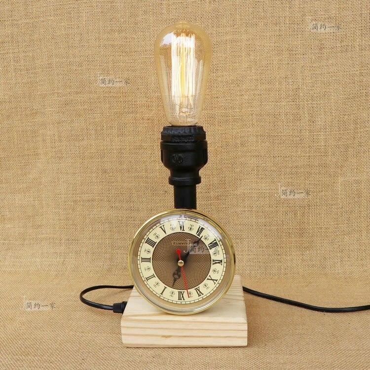 Трубы деревянное основание настольная лампа водопроводные трубы настольные лампы ретро промышленного ветер Творческий воды прикроватная ...