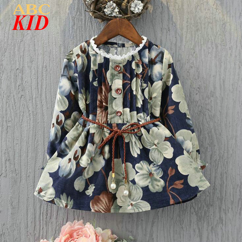 2017 Long Sleeve Dress Vintage Floral Buttons Girls Dress With Sashes Lace Dress Kids Lace Up Korean Dresses Elbise KD341 vintage lace panel buttons slip dress