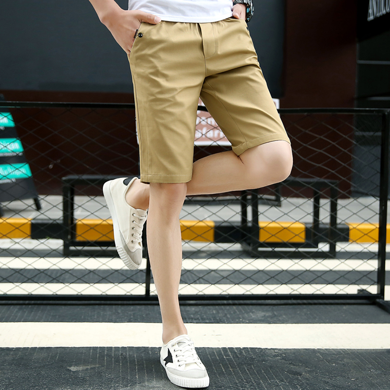 2018 Men Casual Shorts Men Cotton Solid Shorts Summer Beach Shorts New Fashion Shorts Solid Color Green Khaki Blue Black Gray