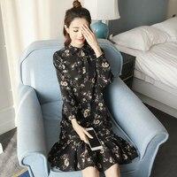 春新しいハン版ドレスショー薄いシフォン花長袖ドレス女性aラインは、自分の道徳