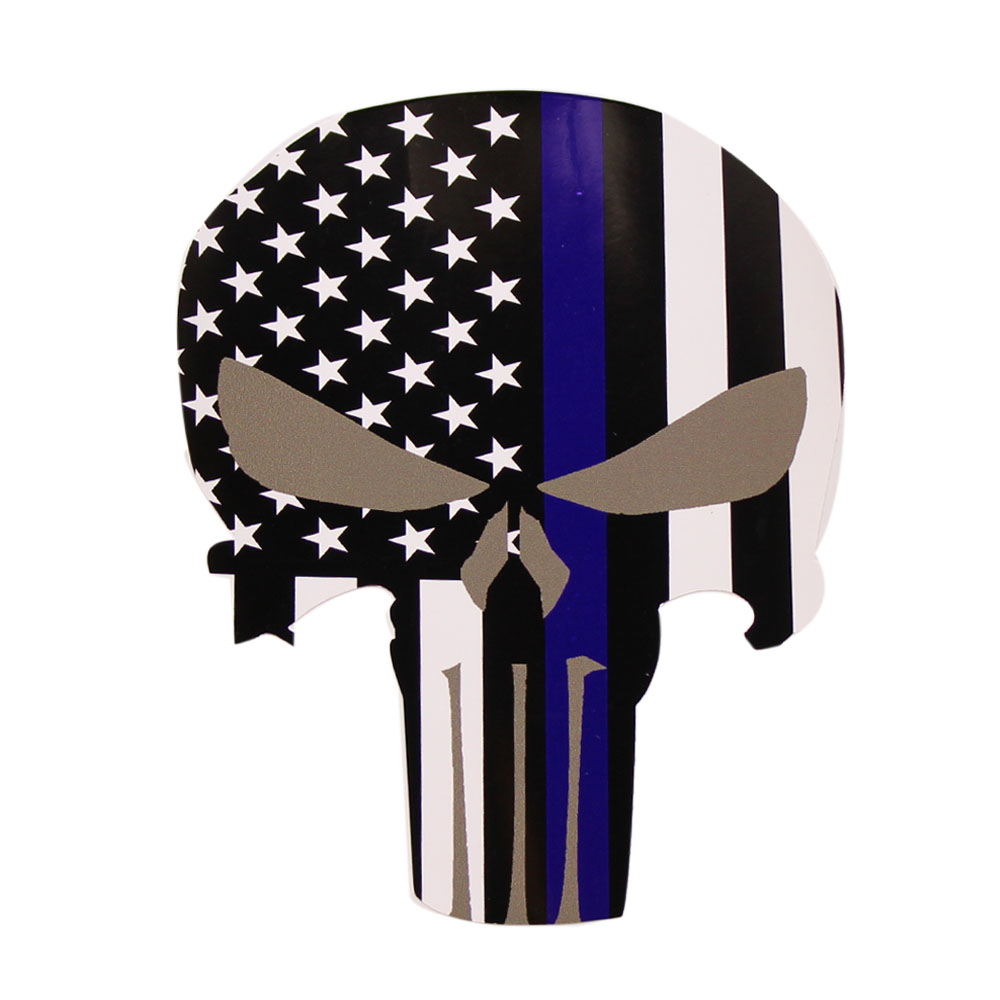 Punisher Skull Police Thin Blue Line American Flag Decal Sticker Graphic