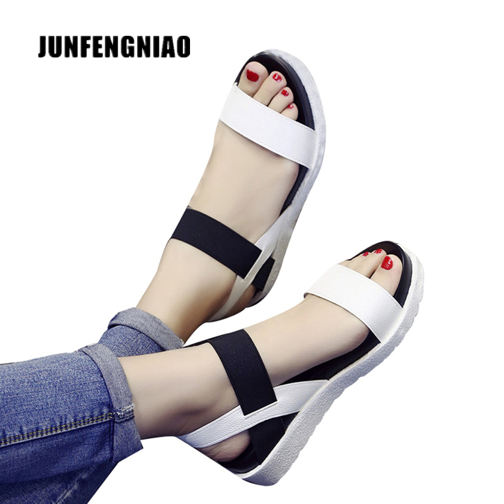 JUNFENGNIAO Women Beach Sandals Summer Casual Flat Shoes Peep-toe Lady Flip Flops Footwear Gladiator Sandalias Mujer XY-669810 covoyyar 2018 fringe women sandals vintage tassel lady flip flops summer back zip flat women shoes plus size 40 wss765