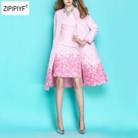 2018 Designer Trench Coat Autumn Spring Women's High Quality Cherry Printed Floral Jacquard Trench Coat Outwears Medium B1139