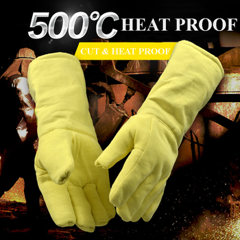 932F High-Temperature Fire-Resistant Gloves, Five-Finger Thick Gloves,Aluminum Foil, Heat-Proof Grill, Anti-scalding Gloves 500 degrees heat insulation gloves high temperature resistant gloves to hot flame retardant aluminum foil meta aramid fire luvas