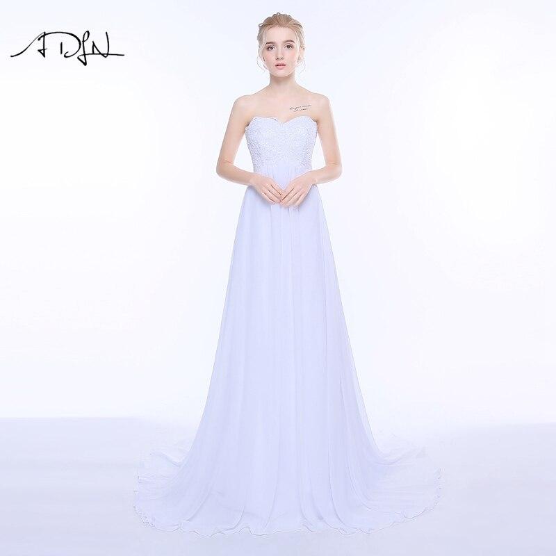 Vestidos de novia imperio ADLN cariño escote gasa vestido de novia para mujer embarazada vestido de casamento barato