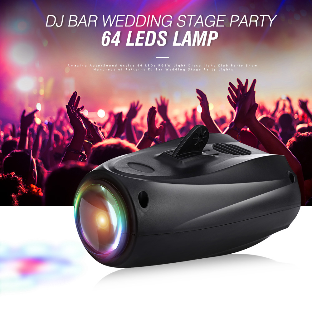 Amazing Auto/Sound Active 64 LEDs RGBW Light Disco light Club Party Show Hundreds of Patterns Dj Bar Wedding Stage Party Lights