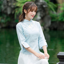 77ba9d2e298 Spring Summer New National Style Women s Clothing Embroidered Stand Collar  Cheongsam Seven-sleeve Cotton Tops
