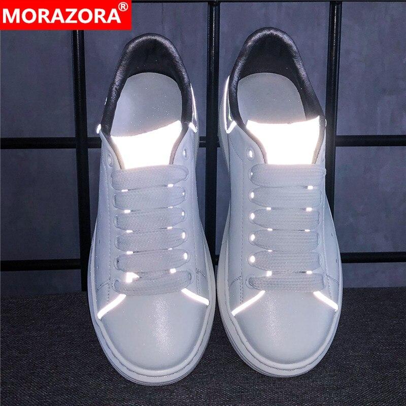 MORAZORA taille 34-46 nouveau 2019 en cuir véritable plate-forme baskets femmes hommes classique réfléchissant petit blanc chaussures couple chaussures décontractées