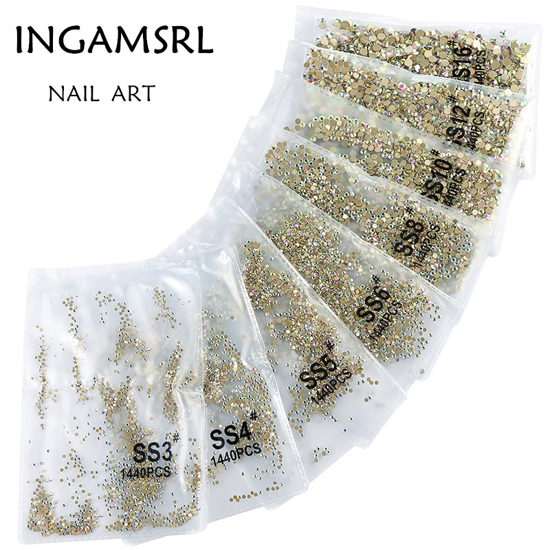 Super Glitter 1440pcs SS3-SS10 Flatback Multi AB Color Non HotFix Rhinestones For Nail Art Decoration Shoes And Dancing 052