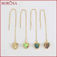 BOROSA Drusy Gold Color Abalone Shell Heart Threader Earrings, Handcrafted Druzy Dangle/Drop Earring for Women Jewelry G1246