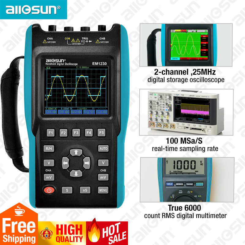 2in1 Handheld Oscilloscope 2 Channels with Color Screen Scope Digital Multimeter DMM Meter EM1230 all-sun mc 7825ps digital water meter price with 2 in 1 multifunctional digital pin