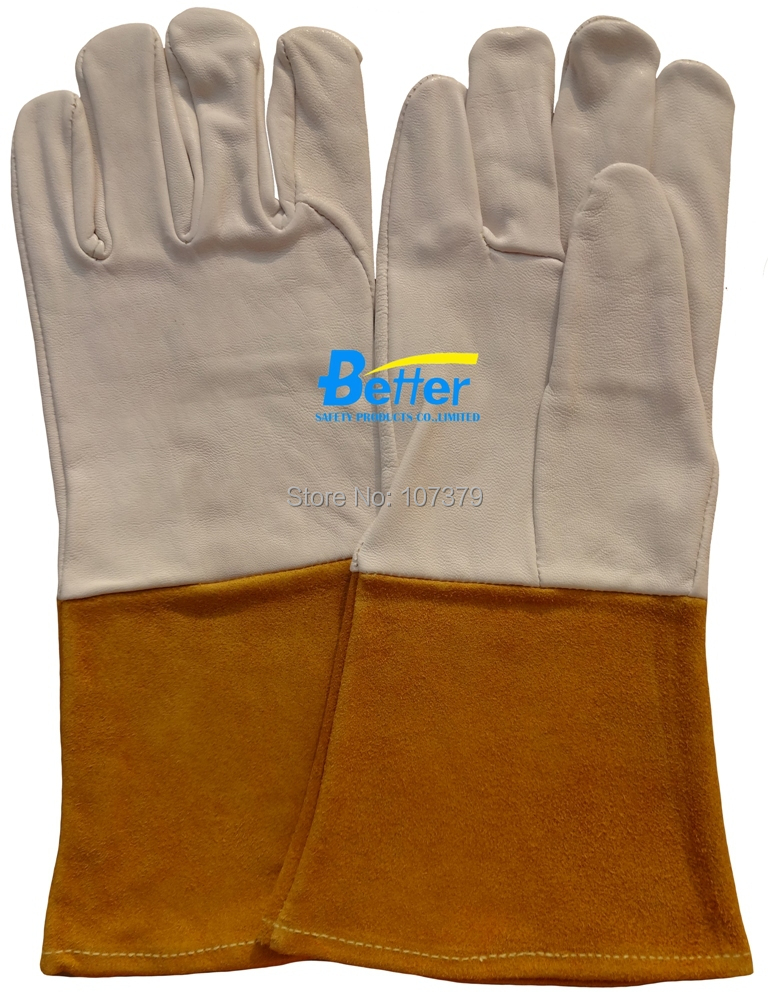 Leather Work Gloves TIG MIG Welding Gloves Leather Driver Gloves Grain Goat Leather TIG MIG Welding Gloves oxygen welder safety gloves long sleeve tig mig welding work gloves