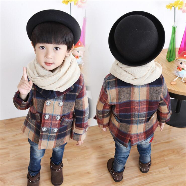 2016 Autumn Winter Boys Thicken Plaid Woolen Cloth Coat Cotton Double-Breasted Warm Wind Coat Cardigan Jackets Kids Suit 1-8T