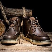 Printemps automne en cuir hommes hiver bottes plate-forme de style Britannique lacent brun travail hommes bottes