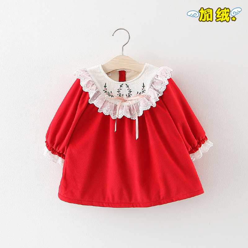 2018 Winter Girls Dress Velvet Embroidery Lace Round Collar Dress girls embroidery detail contrast lace hem dress