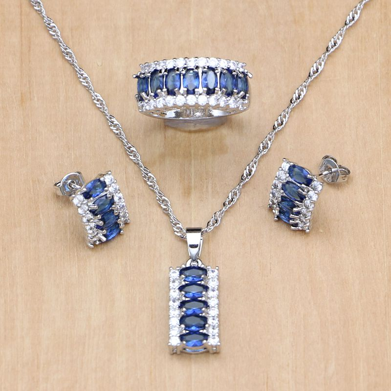 Natural Blue Cubic Zirconia White CZ Jewelry Set Women 925 Sterling Silver Jewelry Earring/Pendant/Necklace/Ring