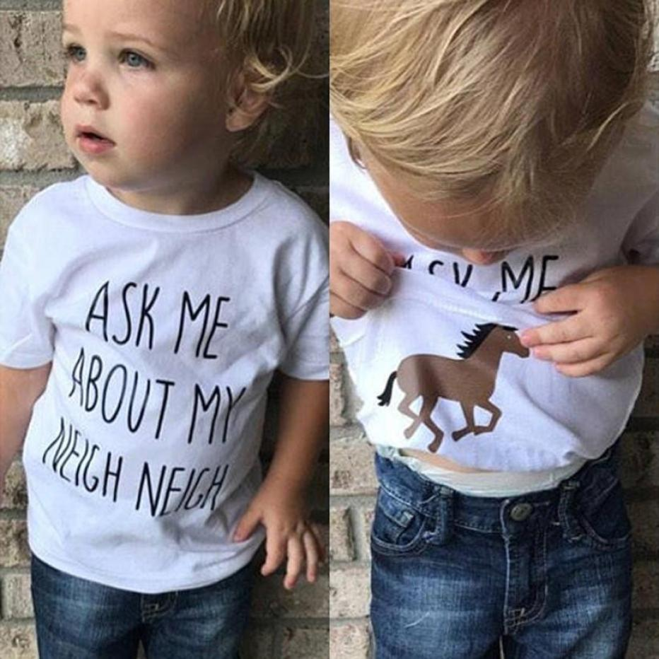 2018 Infant Baby Boy Girls Letter Horse Inside Printed T-shirt Tees Top Casual boy girls t shirts for children Summer Clothes