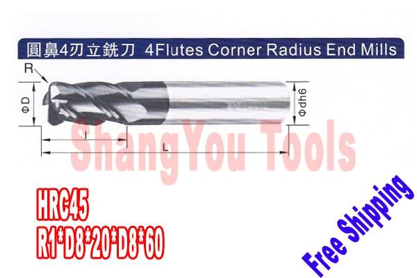 3pcs 8mm hrc45 R1 D8 20 D8 60 four Flutes Milling tools Mill cutter Corner Radius