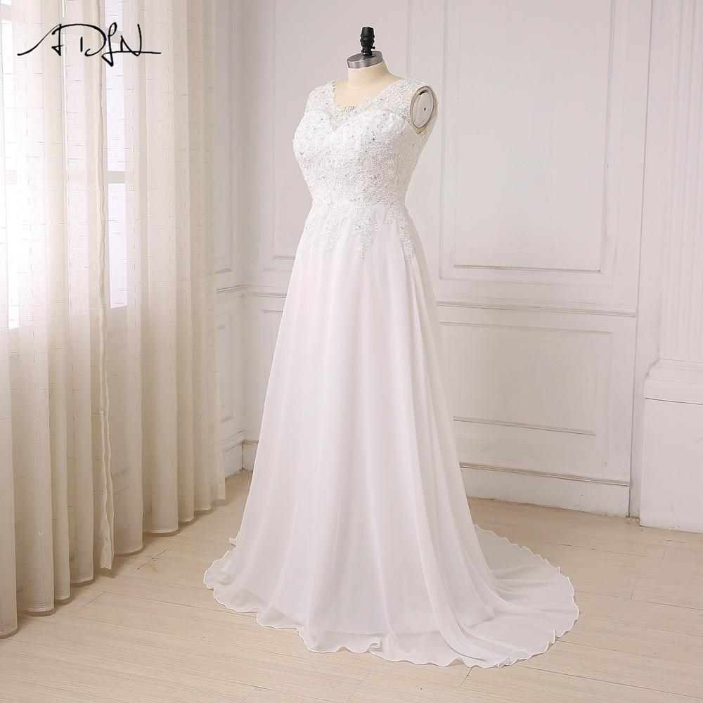 ADLN I lager Plus Storlek Bröllopsklänning Vit / Ivory Cap Sleeve - Bröllopsklänningar - Foto 3