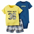 2017 bebes baby boy clothes sets newborn baby kids summer shorts clothing boys bodysuit set 3pcs drop shipping letter pattern