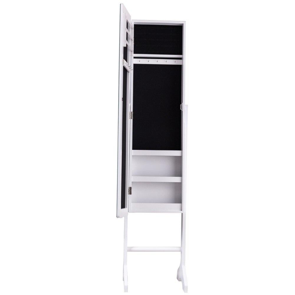 Gabinete de joyeria con espejo con pasta armario de almacenamiento maquillaje joya estante 35,2x35x153 cm HW56222Gabinete de joyeria con espejo con pasta armario de almacenamiento maquillaje joya estante 35,2x35x153 cm HW56222