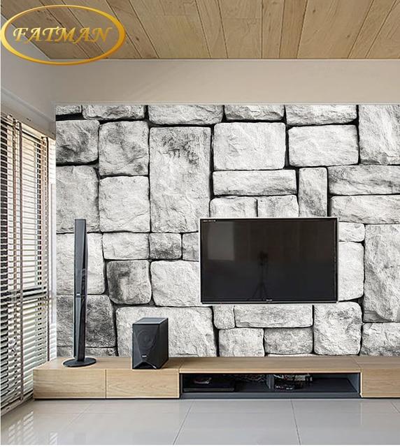 3D natuur wallpapers Grijs Wit Steen Baksteen Muur Retro l Woonkamer ...